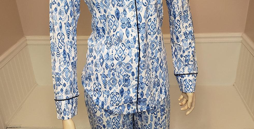 Cat's Pajamas Ikat Marine Pajama Set