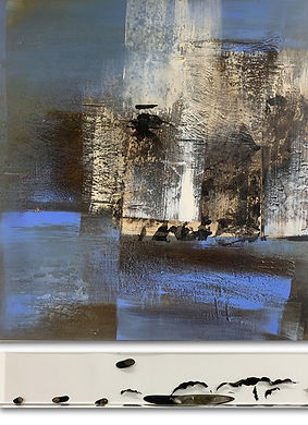 Tide_mixed media on canvas and kelp in a