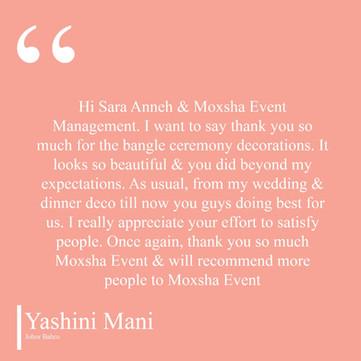 Yashini Testimonial