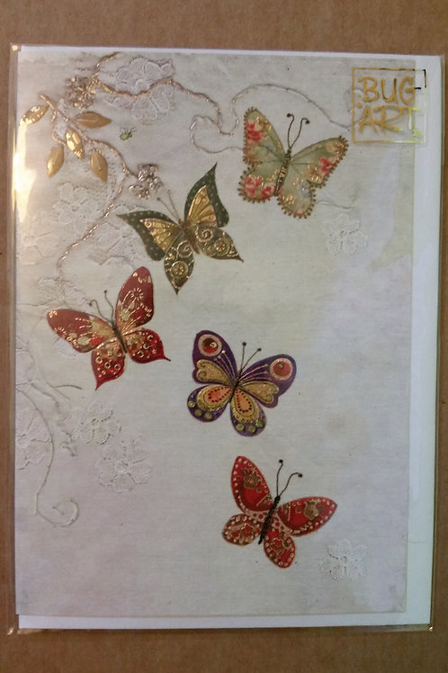 Five butterflies card