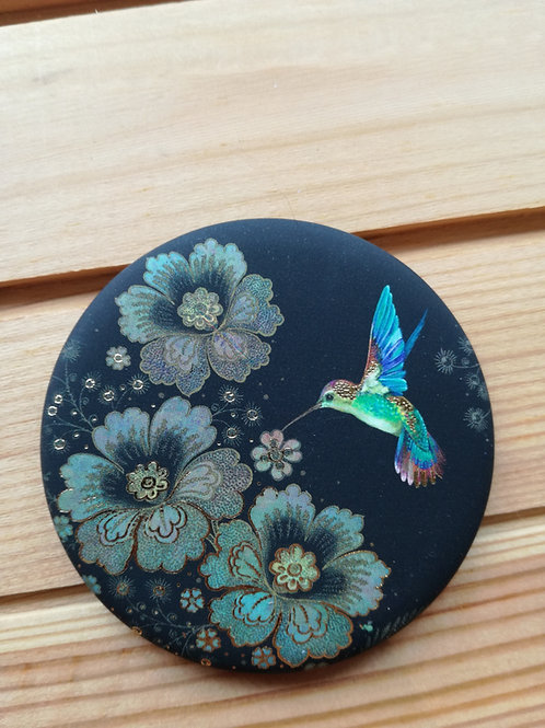 Hummingbird and Flower Round Magnet