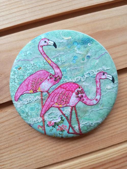 Flamingo Round  Magnet