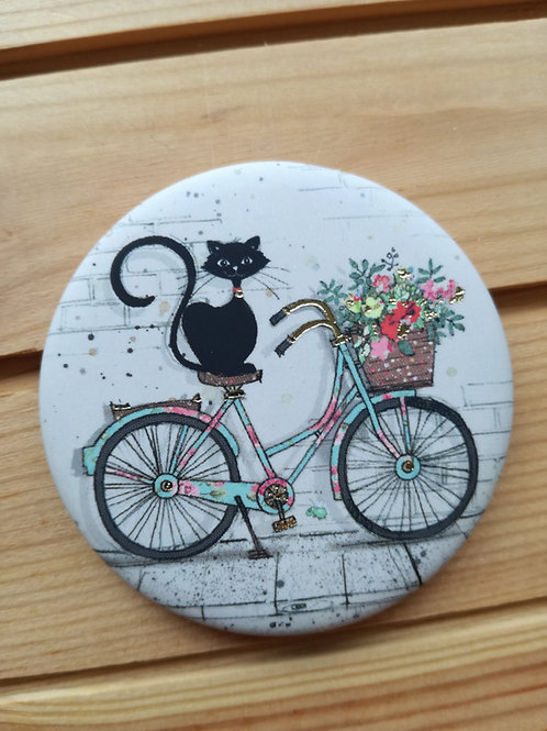 Cat on Bicycle Round Magnet