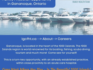 Recruiting for a Family Physician for our Gananoque site!
