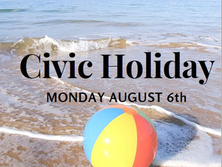 Brockville & Gananoque LGCFHT offices will be closed for the Civic Holiday!