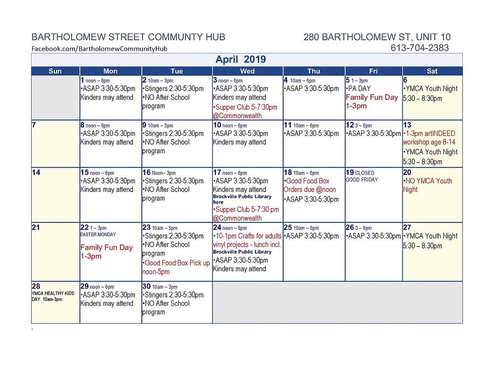 Bartholomew Street Community Hub Calendar