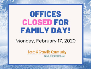 Offices will be closed for Family Day!