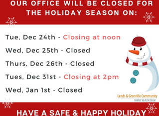 Holiday Hours:
