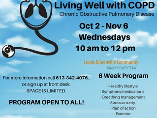 LIVING WELL WITH COPD - Call to Register: 613-342-4076