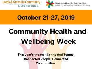 COMMUNITY HEALTH AND WELLBEING WEEK.