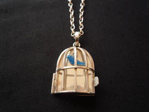 Bird Cage (enamel) Pendant
