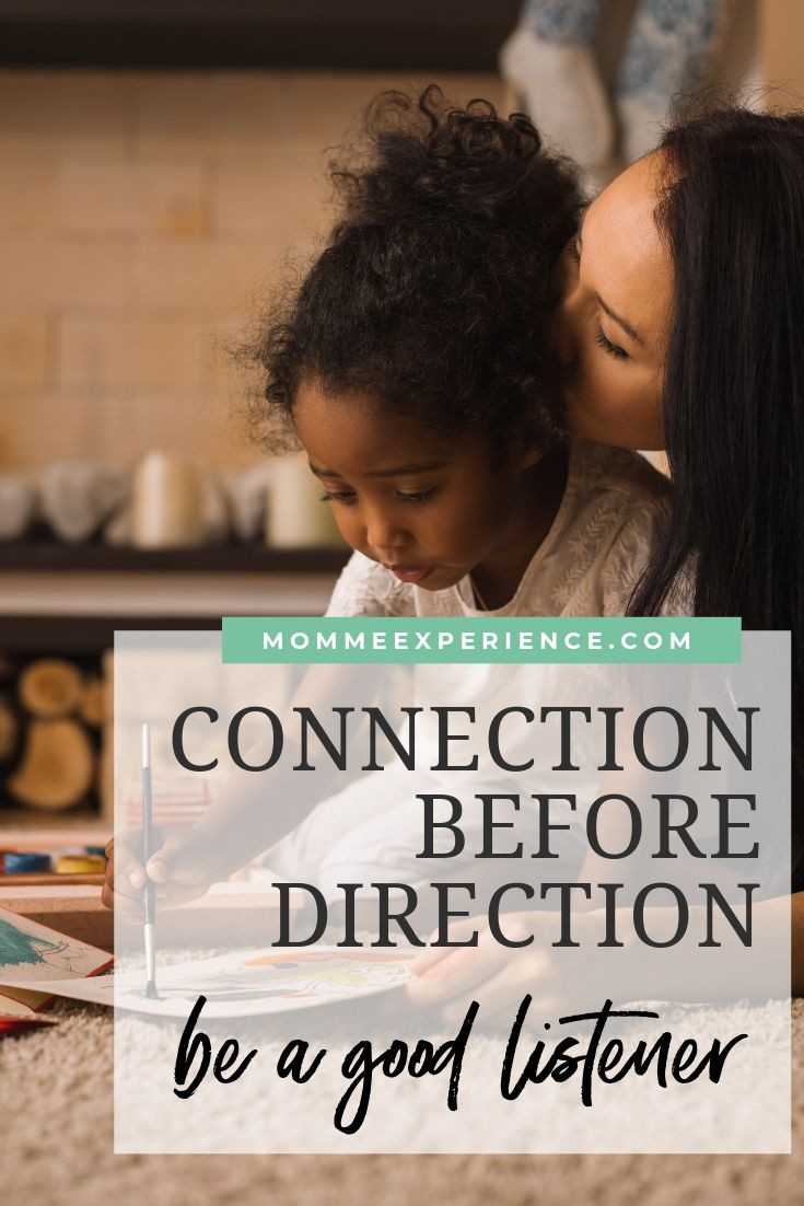 """mom and daughter coloring with a text overlay that says, """"Connection before direction."""""""
