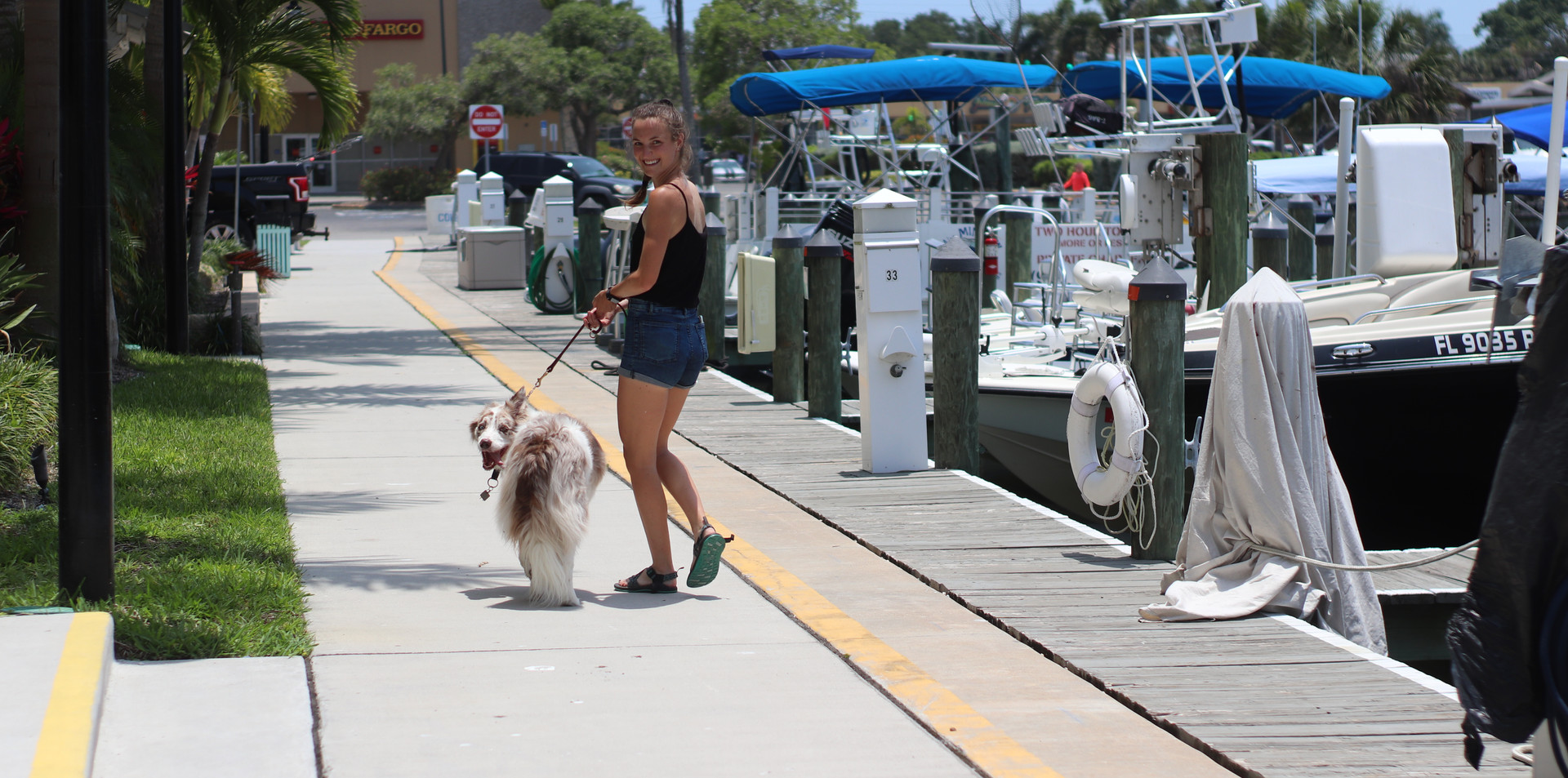 Casper with Mac at dock.JPG