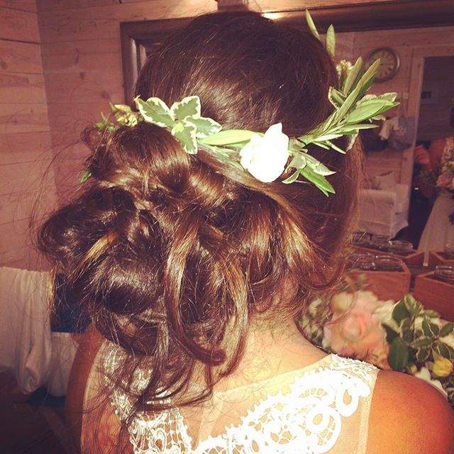 Boho updo and a simple floral crown..