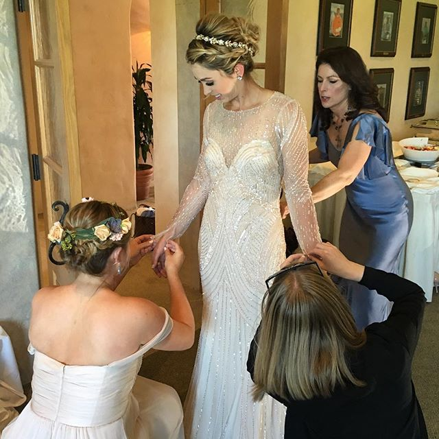 The final touches on our sweet bride