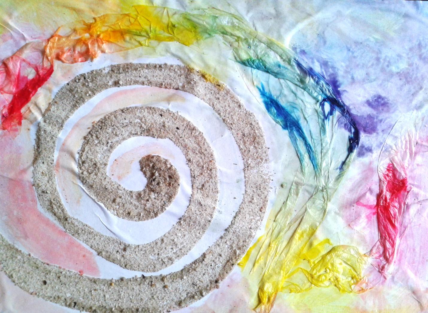 Papier de soie, encre et sable