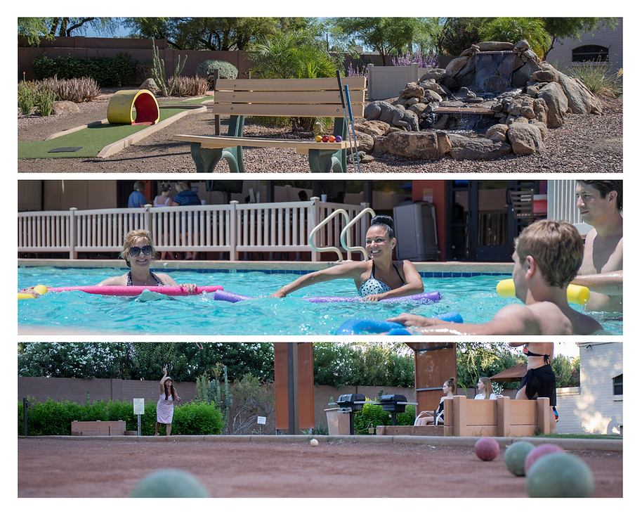 Images of activities throughout the resort. Miniature Golf, Water Aerobics, and Bocce Ball.