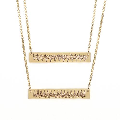 Double Heartbeat Bar Necklace