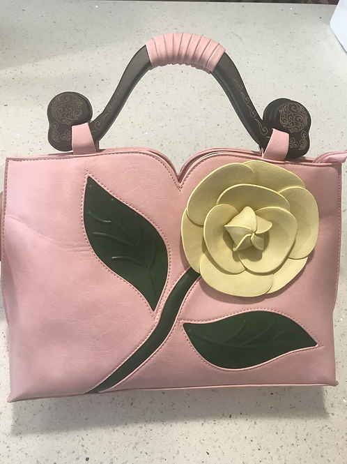 Exotic Flower Applique PU Leather Tote Handbag