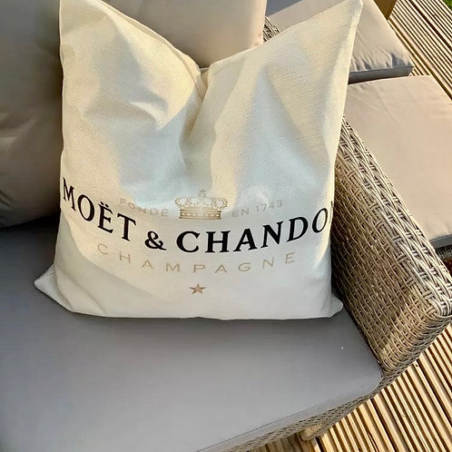 MOET & CHANDON CHAMPAGNE 🍾 BEIGE PILLOWS 3 PC Set ~ Brand New