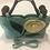 Thumbnail: Exotic Flower Applique PU Leather Tote Handbag