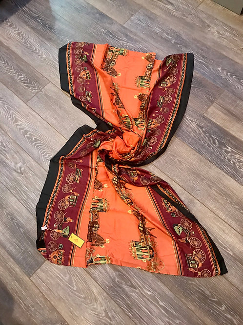 Hermes Vintage Classic Orange & Multi 'Carre En Carres' Silk Shawl Scarf