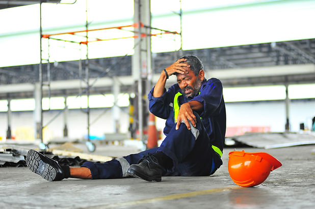 Senior worker accident fall of the scaff