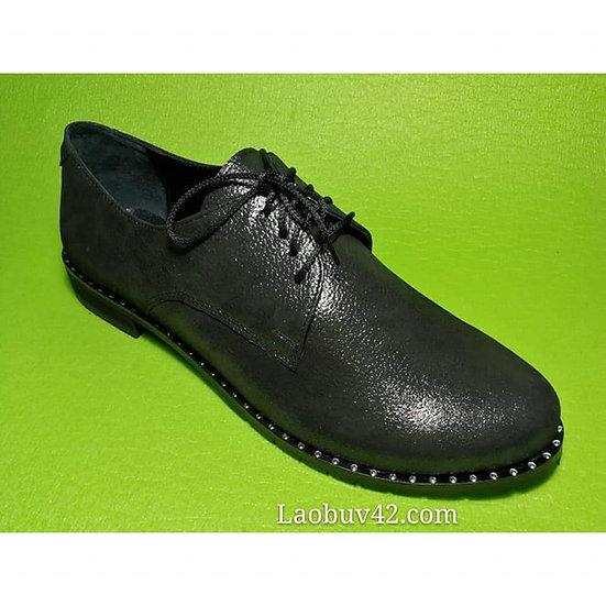 Туфлі шкіра-сатин