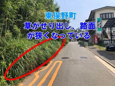 東俣野町・道路通行や歩行者に支障がある除草