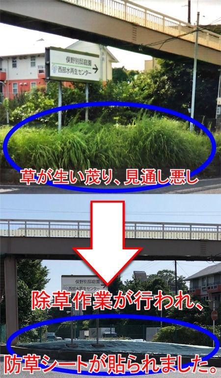 藤沢バイパス出口信号交差点の除草による事故対策