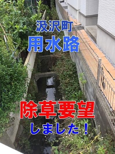 汲沢町・用水路の除草要望