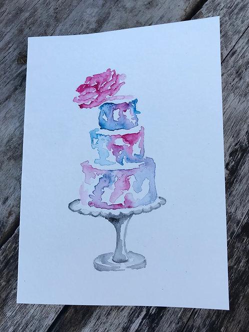 Wedding cake notecard