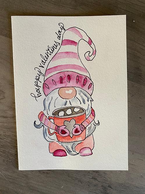Valentine gnome greeting card