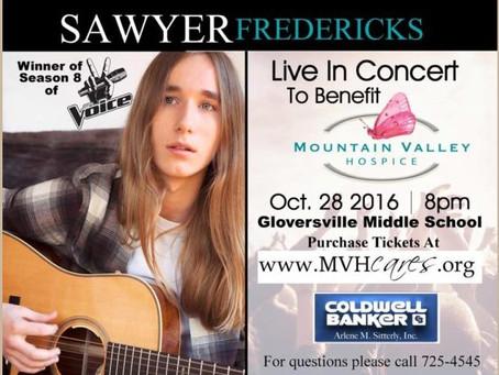 Mountain Valley Hospice Announces Sawyer Fredericks Concert