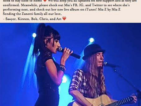 Mia Z Leaves Tour
