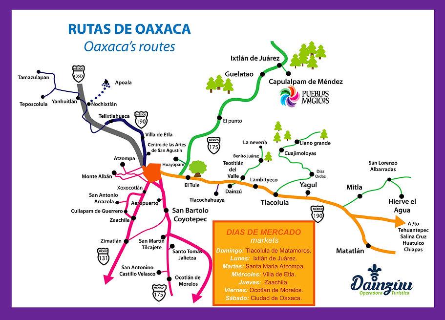 mapa de las rutas de Oaxaca