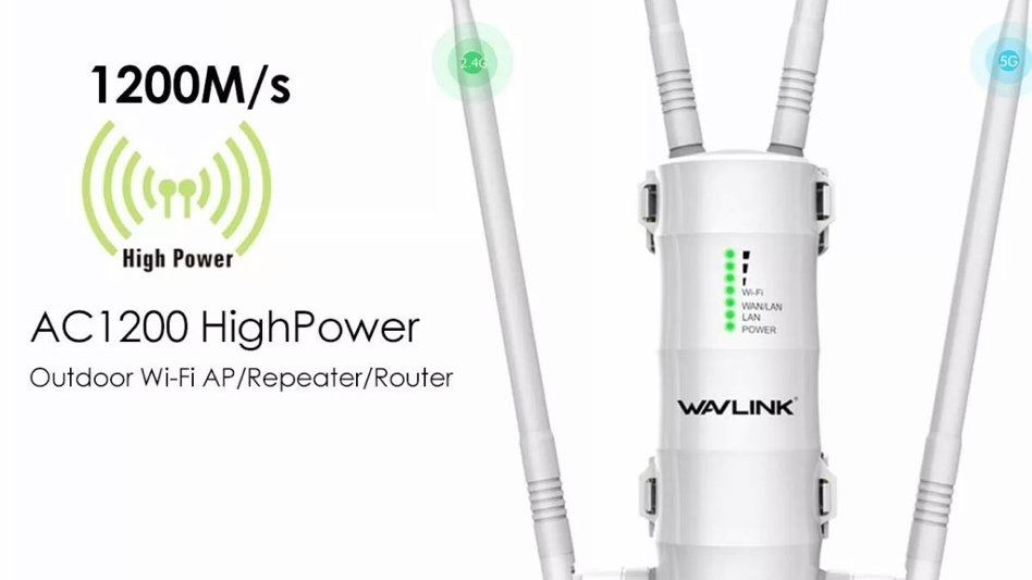 Dual-Band AC1200 Wifi Range High Power Outdoor Extender PoE High Gain WAVLINK  2