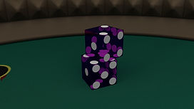 Two purple casino dice stacked on top of each other near the corner of a craps table.