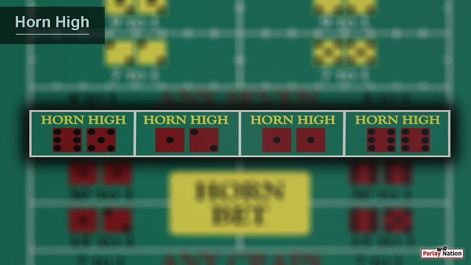 Overhead view of the horn high area. There are no bets on the layout and the section is outlined with a drop shadow.