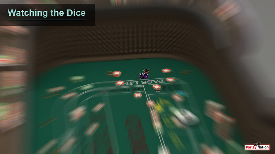 Player view from hook of third base looking at the dice sitting on the layout in front of spot fifteen of second base.