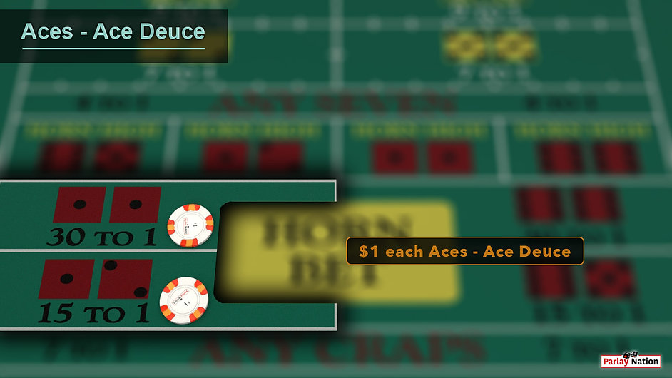 $1 each on the aces and the ace deuce for spot 5. Sign that says $1 each Aces-Ace Deuce.