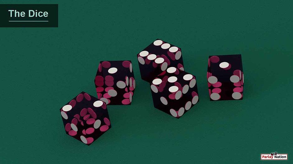 Five purple dice sitting on green felt