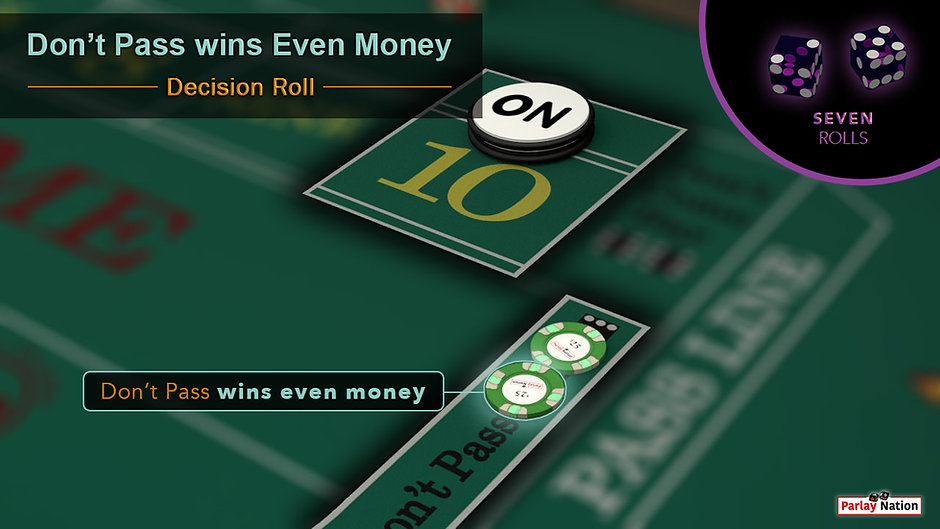 $25 bet on don't pass paid $25. The puck is on point ten. Bubble in the corner with two purple dice reading 5-2.