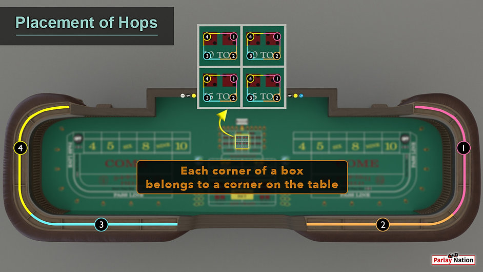 Blown up hop image over the entire table and rail. Sections marked off 1-4 to show spots of players.