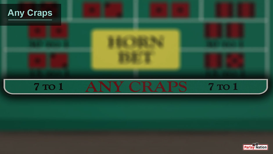 Overhead view of the any craps area. There are no bets on the layout and the section is outlined with a drop shadow.