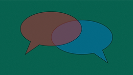 Green background with two overlapping talking bubbles, one blue and one magenta.