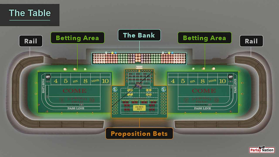 Overhead view of the areas of the table. The bank, the two betting areas, the proposition bets area, and the rail.