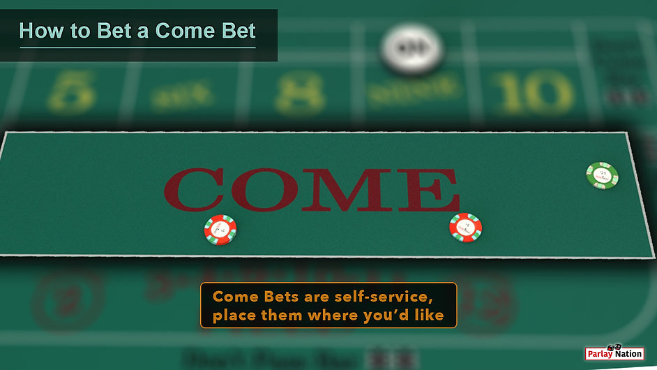 $5, $10, and $25 bet in the COME area. Sign says come bets are self-service.
