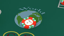 Five dollar bet on the image of the world on the second base side. The bet seems to be spot nine.