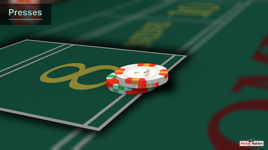 Up close view of a twelve dollar place bet on the point eight.